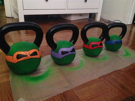 kettlebells kettlebell tmnt painting diy turtles kettle ninja bells stencils birthday