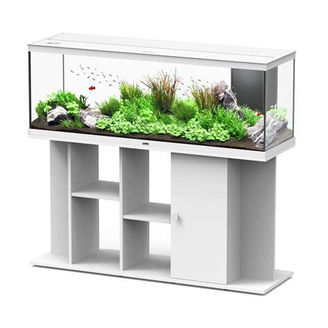 aquarium style led et meuble blanc l150 cm aquatlantis animalerie truffaut