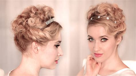 cute easy curly updo  weddingprom hairstyle