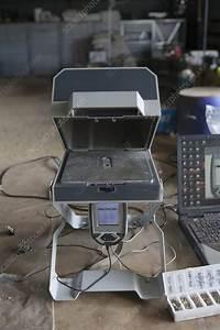 Portable X-ray fluorescence spectrometer - Stock Image ...