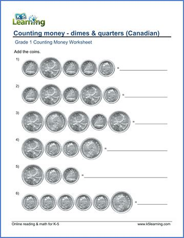 grade 1 counting money worksheet on canadian dimes and
