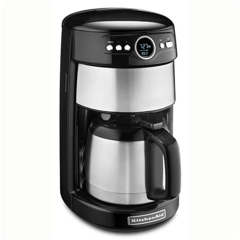 It's got a reusable gold tone filter basket, an included kitchenaid brand 18 oz. KitchenAid KCM1203OB 12-cup Coffee Maker w/Glass Carafe, Programmable, Onyx Black