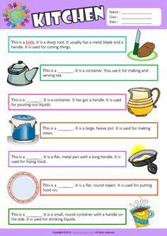 kitchen esl multiple choice worksheet  kids