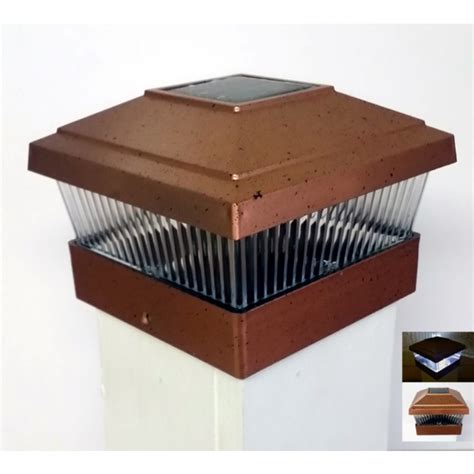 solar powered outdoor 5x5 fence post cap led light copper