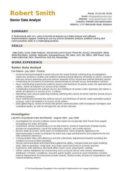 Data Entry Analyst Resume by Data Analyst Resume Sles Qwikresume