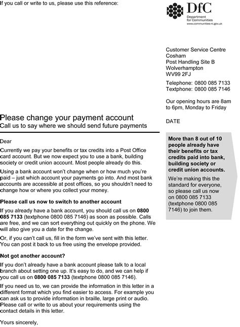 department confirms validity  payment account letter