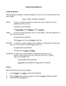 english language arts skills development volume one activities and worksheets