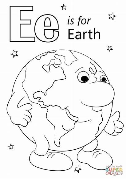 Letter Coloring Earth Pages Preschool Printable Alphabet