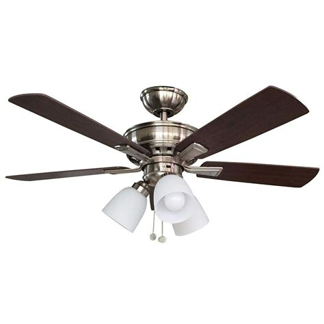 home depot ceiling fans with lights hton bay vaurgas 44 in led indoor brushed nickel