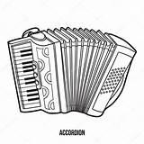 Musical Akordeon Coloring Accordion Akkordeon Instruments Children Instrumenty Dzieci Muzyczne Kolorowanka Dla Depositphotos Ilustrace Musikinstrumente Fototapeta Gitara Malbuch Kinder Vektory sketch template