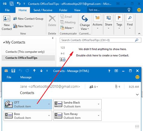 outlook contact attachment sent import email contacts mail folder microsoft calendar undefined importer groupe tip un french comment sign officetooltips