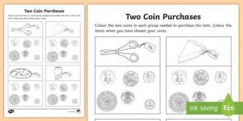 two coin purchase worksheet activity sheet maths coins