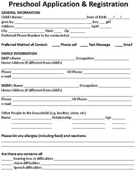 preschool application amp registration form by callie s 679 | original 1159757 2