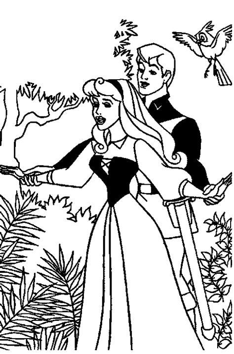 Kleurplaat Doornroosje Met Prins by Kleurplaten Disney