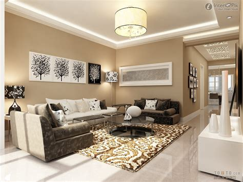 Living Room Design Ideas Hanging Lamp Soft Brown Carpet Round Glass Coffee Table Standing Lamp