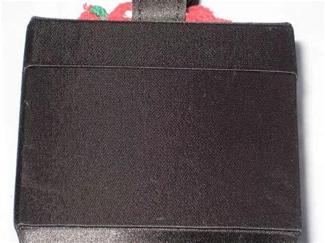 Black Satin Box Purse With Hand Crochet Strawberries