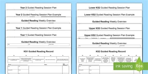 guided reading planning template ks primary resources