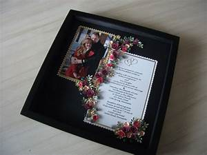 paper quilled wedding invitation picture framed under glass With wedding invitation frame etsy