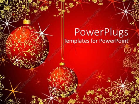 powerpoint template christmas theme  red  gold