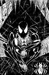 Spiderman Black Suit Comic Art