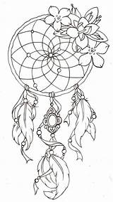 Catcher Coloring Dream Adult Dreamcatcher Colouring Tattoo A4 Drawing sketch template