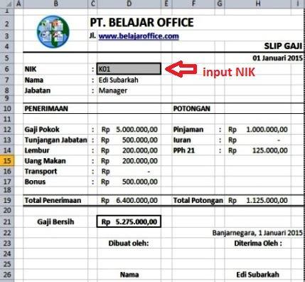 Dibawah ini saya sertakan contoh file penghtungan gaji karyawan yang telah kita bahas. Membuat Slip Gaji Menggunakan Rumus Excel | Belajar Office