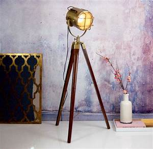 nautical gold brass standing floor tripod lamp by made With nautical brass floor lamp