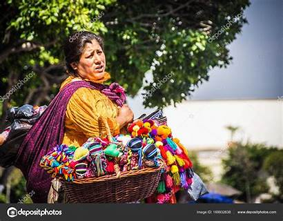 Mexican Indigenous Traditional Woman Selling Dolls Mexico