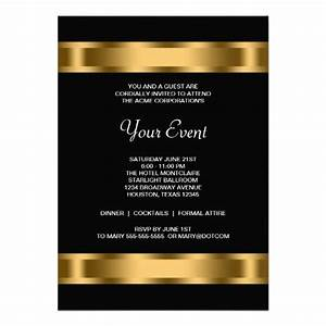 formal invitation template for an event - black gold black corporate party invitation templates