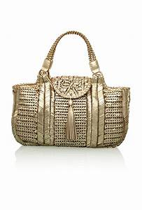 Anya hindmarch Neeson Woven Leather Tote in Gold | Lyst