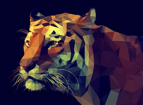 Polygon Animal Wallpaper - polygon tiger wallpapers images photos pictures backgrounds