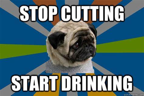 Depressed Drinking Meme - stop cutting start drinking clinically depressed pug
