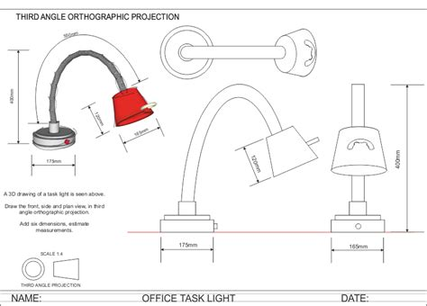 angle orthographic projection office task light