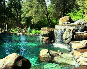 Pool landscape pool design waterfall island natural rock for Rock pool designs