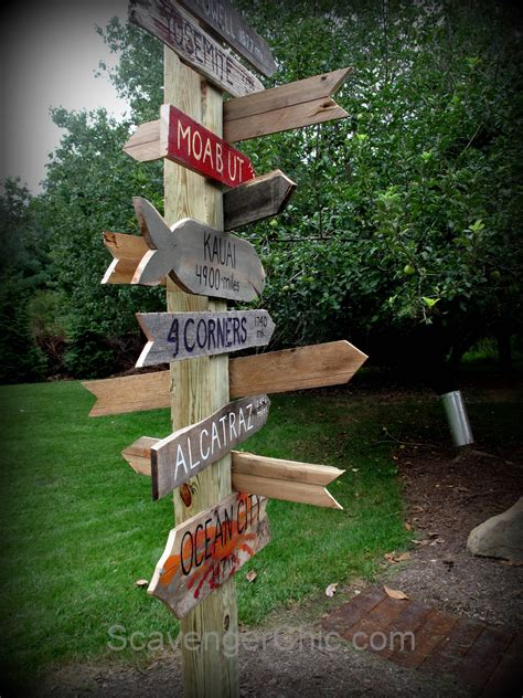 wooden sign post tutorial scavenger chic