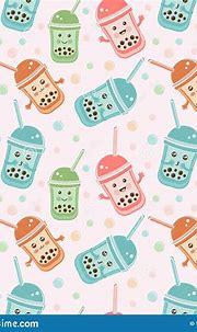 Seamless Pattern Black Tapioca Pearls. Cute Kawaii ...