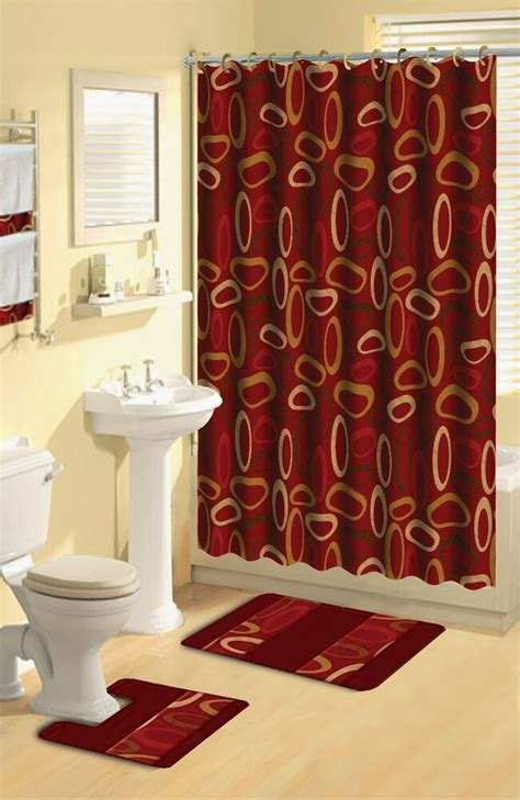 modern geometric burgundy rings  piece bath rug shower curtain hooks towel set ebay