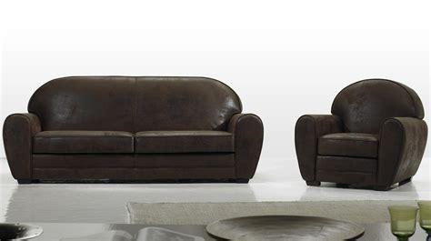 canapé convertible aspect cuir vieilli fauteuil vintage en microfibre aspect cuir vieilli