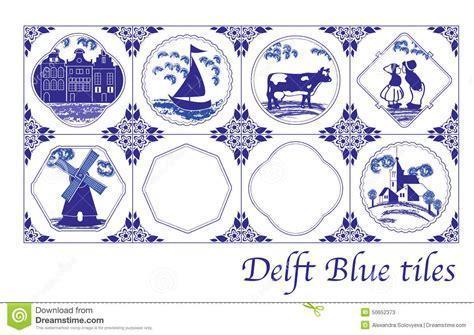delft blue dutch tiles  folk pictures stock vector
