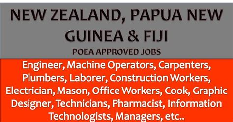 poea approved jobs to new zealand papua new guinea and fiji