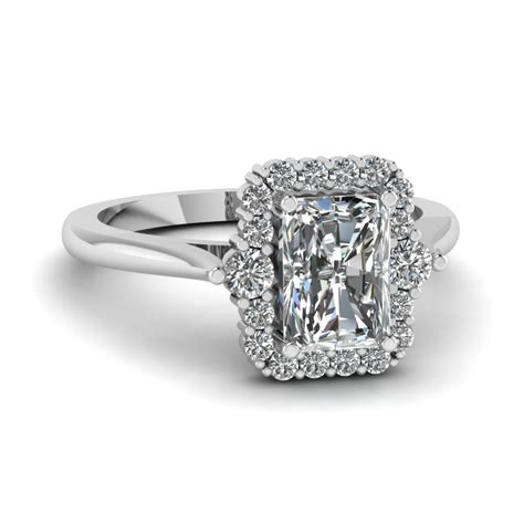halo radiant diamond petite engagement ring in 950