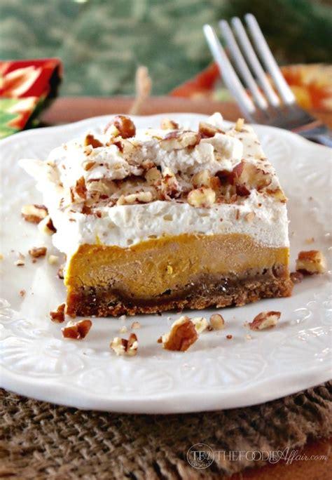 pumpkin delight three layer dessert the foodie affair