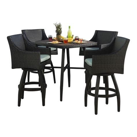 5 bar height outdoor dining set rst brands deco 5 all weather wicker patio bar
