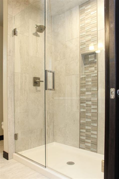 ivory tile shower glass grey  brown tile accent