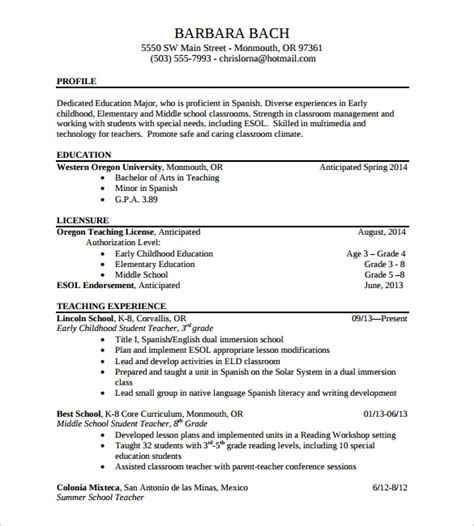 sample elementary teacher resume  documents   word
