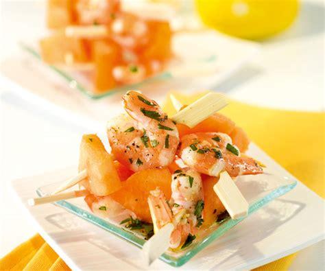 cuisiner crevettes recette facile et rapide minibrochettes de melon et