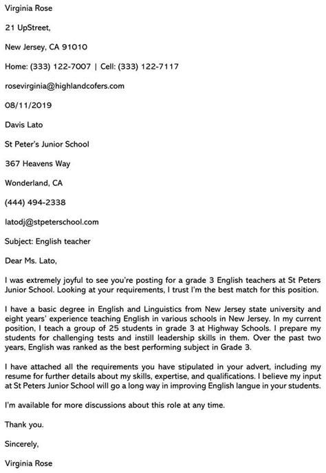 teaching cover letter sample  email