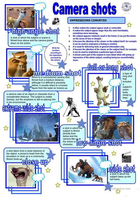 cinema camera shots worksheet  esl printable
