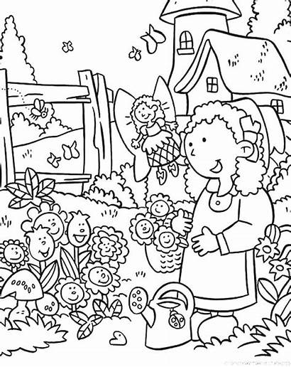 Coloring Garden Flower Pages Daisy Drawing Flowers