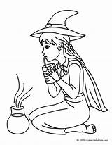 Potion Coloring Witch Sorceress Tests Halloween Hellokids Lovely Testing sketch template
